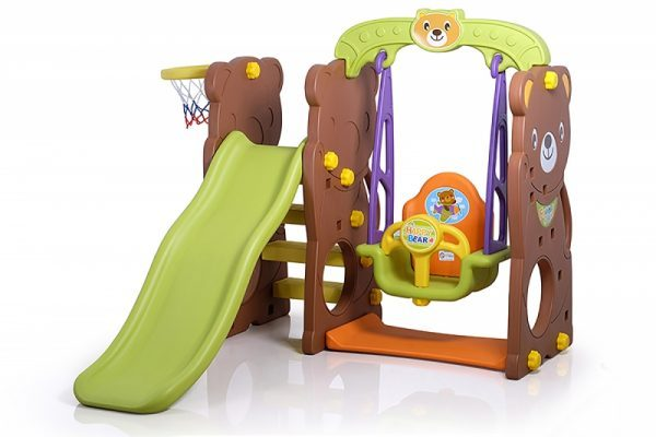 3 In 1 Bear Slide with Swing and Basketball Game PK