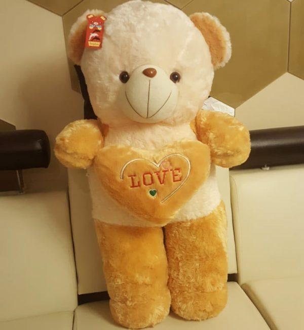 Cute Plush Teddy Bear with Heart Pillow
