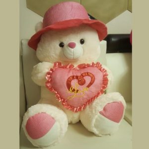 Cute Teddy Bear with Pink Heart Pillow