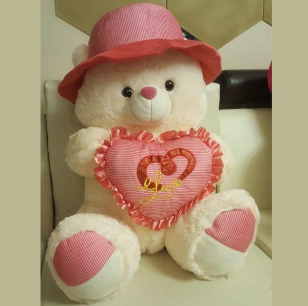Cute Teddy Bear with Pink Heart Pillow