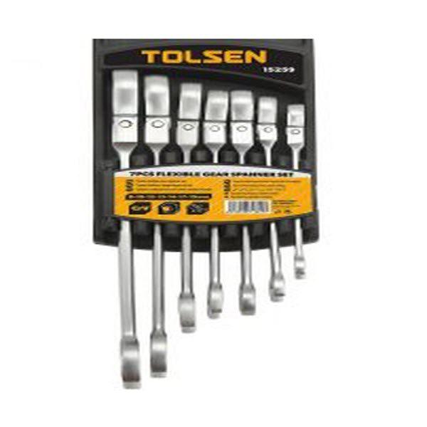 Tolsen 15259 7 Pieces Flexible head Combination Ratchet Spanner Set PK
